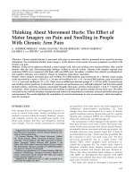 Thinking about movement hurtsThe effect of motor imagery on pain and swelling in people with chronic arm pain.