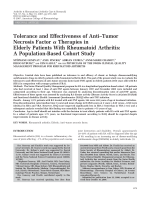 Tolerance and effectiveness of antitumor necrosis factor ╨Ю┬▒ therapies in elderly patients with rheumatoid arthritisA population-based cohort study.