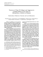 Turnover of type II collagen and aggrecan in cartilage matrix at the onset of inflammatory arthritis in humansRelationship to mediators of systemic and local inflammation.