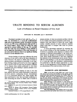Urate binding to serum albumin.