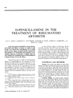 D-penicillamine in the treatment of rheumatoid arthritis.