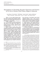 Dysregulation of chemokine receptor expression and function by B cells of patients with primary Sjgren's syndrome.