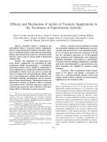 Efficacy and mechanism of action of turmeric supplements in the treatment of experimental arthritis.