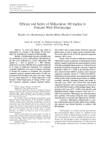 Efficacy and safety of milnacipran 100 mgday in patients with fibromyalgiaResults of a randomized double-blind placebo-controlled trial.