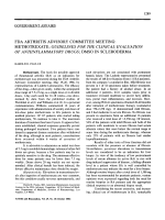 FDA arthritis advisory committee meetingMethotrexate Guidelines for the clinical evaluation of antiinflammatory drugs DMSO in scleroderma.