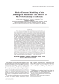 Finite-element modeling of the anthropoid mandibleThe effects of altered boundary conditions.
