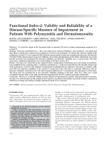Functional index-2Validity and reliability of a disease-specific measure of impairment in patients with polymyositis and dermatomyositis.