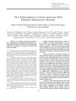 HLA polymorphisms in African Americans with idiopathic inflammatory myopathyAllelic profiles distinguish patients with different clinical phenotypes and myositis autoantibodies.