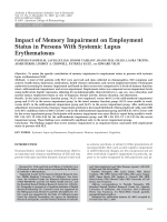 Impact of memory impairment on employment status in persons with systemic lupus erythematosus.
