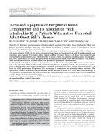 Increased apoptosis of peripheral blood lymphocytes and its association with interleukin-18 in patients with active untreated adult-onset Still's disease.