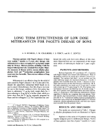Long term effectiveness of low dose mithramycin for paget's disease of bone.