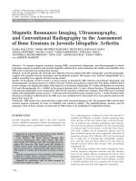 Magnetic resonance imaging ultrasonography and conventional radiography in the assessment of bone erosions in juvenile idiopathic arthritis.