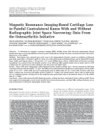 Magnetic resonance imaging-based cartilage loss in painful contralateral knees with and without radiographic joint space narrowingData from the osteoarthritis initiative.
