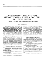 Measuring synovial fluid viscosity with a white blood cell diluting pipette. A simple rapid and reproducible method