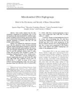Mitochondrial DNA haplogroupsRole in the prevalence and severity of knee osteoarthritis.