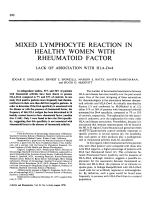 Mixed lymphocyte reaction in healthy women with rheumatoid factor. lack of association with hla-dw4
