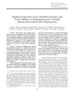 Modified expression of the ADAMTS enzymes and tissue inhibitor of metalloproteinases 3 during human intervertebral disc degeneration.