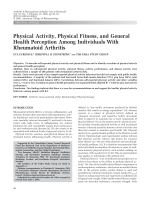 Physical activity physical fitness and general health perception among individuals with rheumatoid arthritis.