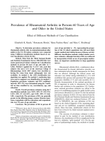 Prevalence of rheumatoid arthritis in persons 60 years of age and older in the United StatesEffect of different methods of case classification.