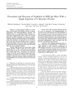 Prevention and reversal of nephritis in MRLlpr mice with a single injection of C-reactive protein.