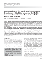 Rasch analysis of the Dutch health assessment questionnaire disability index and the health assessment questionnaire II in patients with rheumatoid arthritis.
