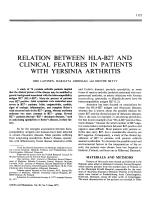 Relation Between HLA-B27 and Clinical Features in Patients with Yersinia Arthritis.