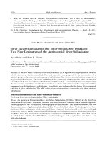 Silver Succinylsulfadiazine and Silver Sulfadiazine ImidazoleTwo New Derivatives of the Antibacterial Silver Sulfadiazine.