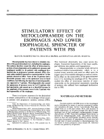 Stimulatory effect of metoclopramide on the esophagus and lower esophageal sphincter of patients with pss.