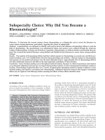Subspecialty choiceWhy did you become a rheumatologist.
