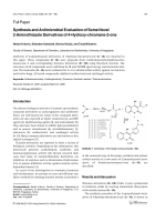 Synthesis and Antimicrobial Evaluation of Some Novel 2-Aminothiazole Derivatives of 4-Hydroxy-chromene-2-one.
