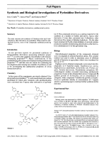 Synthesis and Biological Investigations of Pyrimidine Derivatives.