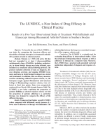 The LUNDEX a new index of drug efficacy in clinical practiceResults of a five-year observational study of treatment with infliximab and etanercept among rheumatoid arthritis patients in southern Sweden.