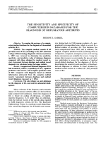 The sensitivity and specificity of computerized databases for the diagnosis of rheumatoid arthritis.