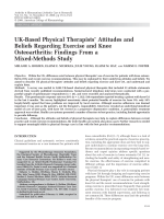 UK-based physical therapists' attitudes and beliefs regarding exercise and knee osteoarthritisFindings from a mixed-methods study.