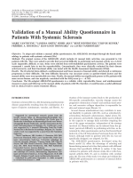 Validation of a manual ability questionnaire in patients with systemic sclerosis.