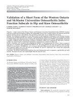 Validation of a short form of the Western Ontario and McMaster Universities Osteoarthritis Index function subscale in hip and knee osteoarthritis.