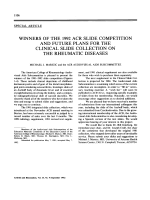 Winners of the 1992 ACR slide competition and future plans for the clinical slide collection on the rheumatic diseases.