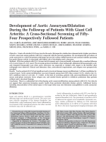 Development of aortic aneurysmdilatation during the followup of patients with giant cell arteritisA cross-sectional screening of fifty-four prospectively followed patients.