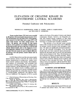 Elevation of creatine kinase in amyotrophic lateral sclerosis.