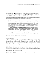 Hemolytic activities of stinging insect venoms.