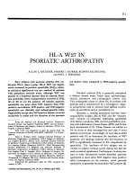 HL-A W27 in psoriatic arthropathy.