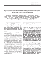 Hydroxychloroquine concentrationresponse relationships in patients with rheumatoid arthritis.