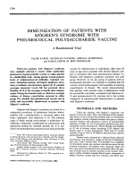 Immunization of patients with sjgren's syndrome with pneumococcal polysaccharide vaccine.