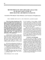 Methotrexate metabolism analysis in blood and liver of rheumatoid arthritis patientsAssociation with hepatic folate deficiency and formation of polyglutamates.