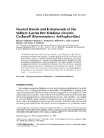 Neutral sterols and ecdysteroids of the solitary cactus bee Diadasia rinconis cockerell hymenopteraAnthophoridae.