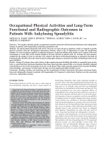 Occupational physical activities and long-term functional and radiographic outcomes in patients with ankylosing spondylitis.