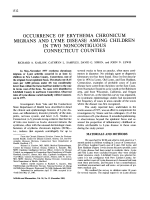 Occurrence of Erythema Chronicum Migrans and Lyme Disease Among Children in Two Noncontiguous Connecticut Counties.