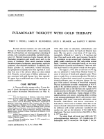 Pulmonary toxicity with gold therapy.