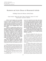 Remission and active disease in rheumatoid arthritisDefining criteria for disease activity states.