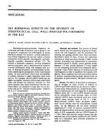 Sex hormonal effects on the severity of streptococcal cell wall-induced polyarthritis in the rat.